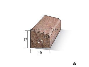 Glaslat 17 x 19 hardhout gegrond C1