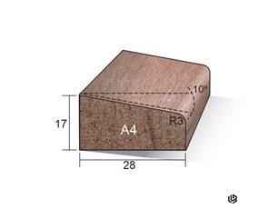 Glaslat 17 x 28 hardhout gegrond A4