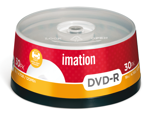Dvd-r imation 16x4.7gb printbaar spindel 30stuks
