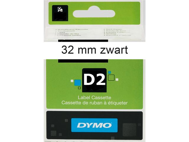 Labeltape dymo 69321 d2 721250 32mmx10m zwart op wit