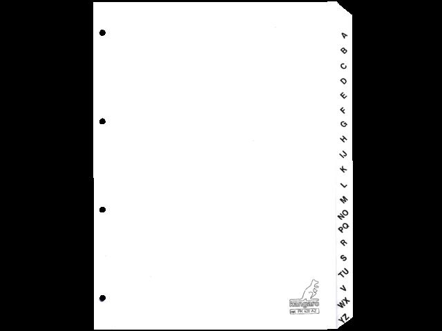 Tabbladen kangaro 4-gaats pk420az 20-delig alfabet wit kart