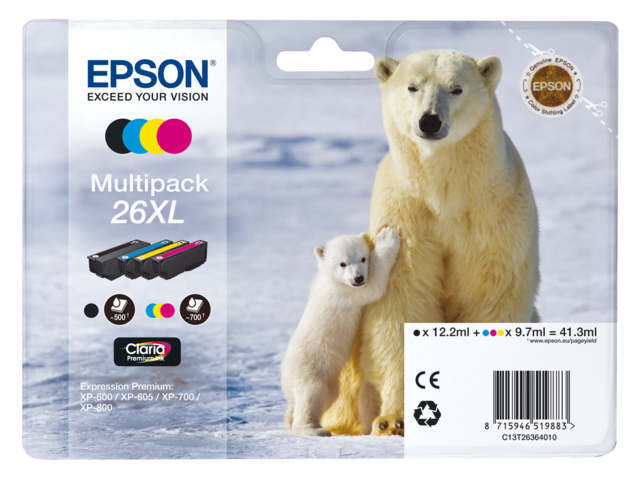 Inkcartridge epson t263640 zwart+3 kleuren hc