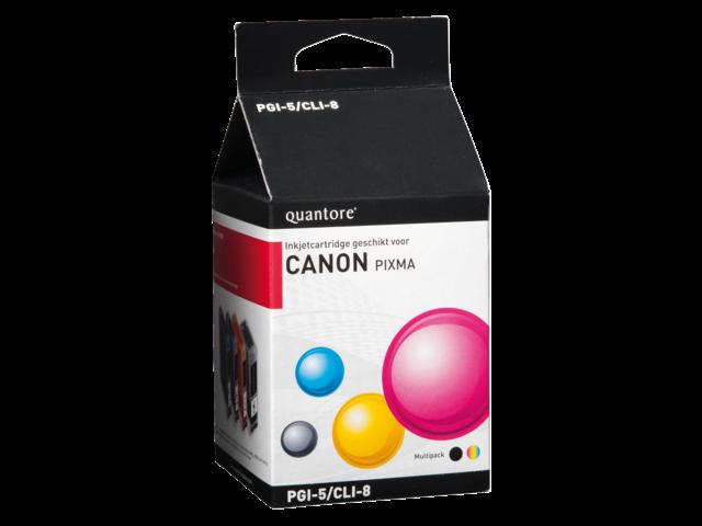 Inkcartridge quantore canon pgi-5 cli-8 zwart + 3 kleuren