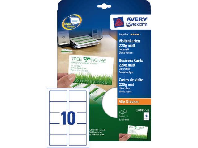 Visitekaart avery c32075-25 85x54mm 220gr 250stuks