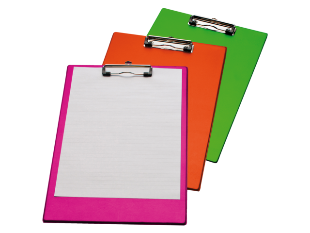 Klembord a4/folio met 100mm klem neon roze