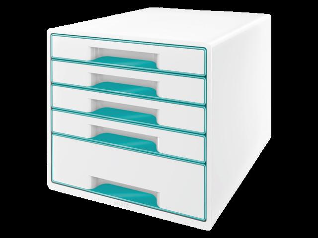 Ladenbox leitz 5214 wow 5 laden wit/ijsblauw