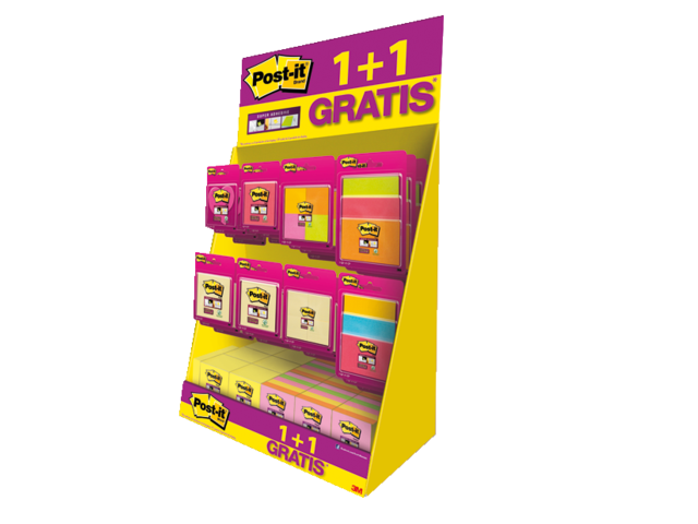 Memoblok 3m post-it super sticky display assorti