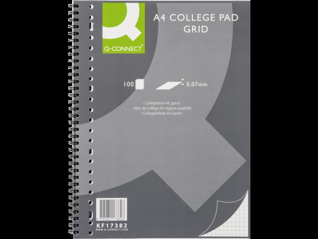 Collegeblok q-connect a4 23r ruit 5mm 70gr