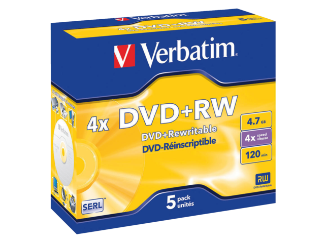 Photo: DVD+RW VERBATIM 4.7GB 4X 5PK JC