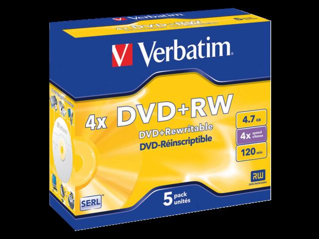 Photo: DVD+RW VERBATIM 4.7GB 4X 5PK JC