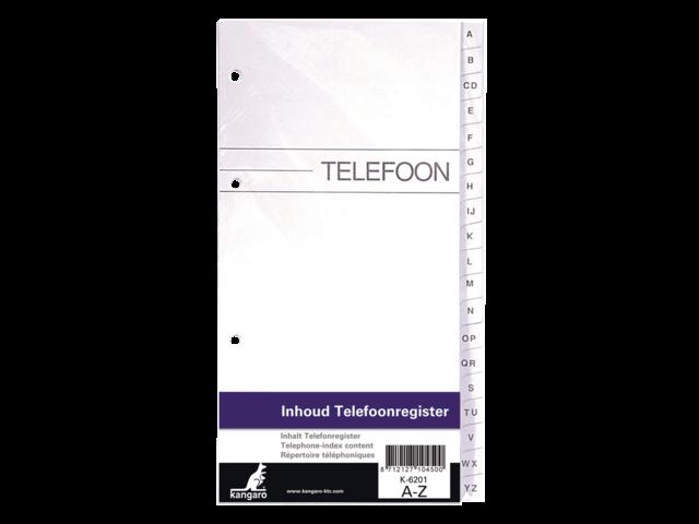 VULLING TELEFOONALBUM KTC K-6201 A-Z 4R