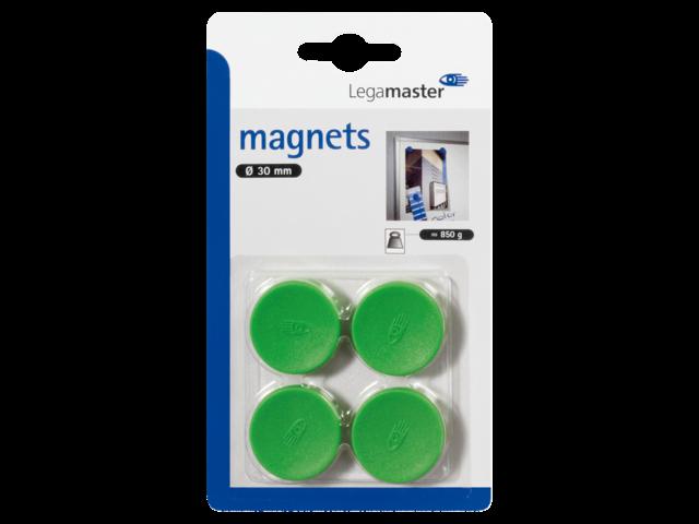 Magneet legamaster 30mm 850gr groen 4stuks