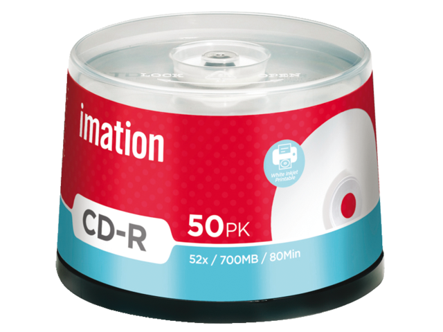 Cd-r imation 700mb 80min 52x printbaar wit spindel 50stuks