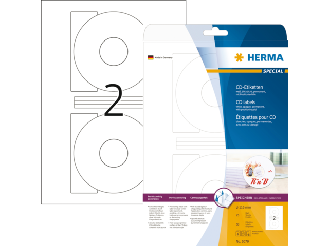 Etiket herma 5079 cd 116mm wit opaqua 50stuks
