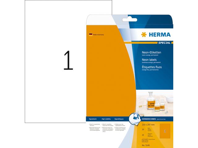 Etiket herma 5149 210x297mm a4 fluor oranje 20stuks