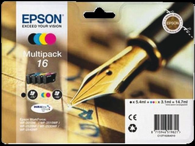 Inkcartridge epson t162640 zwart+3 kleuren