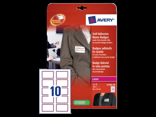 Badge avery l4786-20 80x50mm zelfklevend rood kader 200stuks