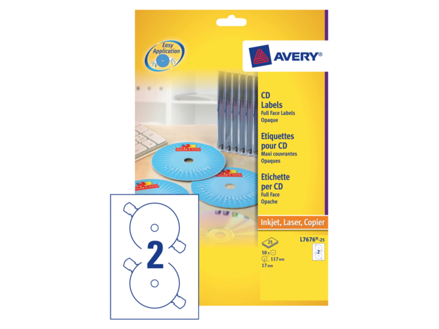 Etiket avery l7676-25 cd full size mat wit 50stuks