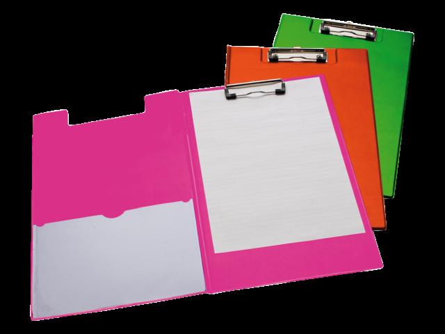 Klemmap a4/folio met 100mm klem + penlus neon roze
