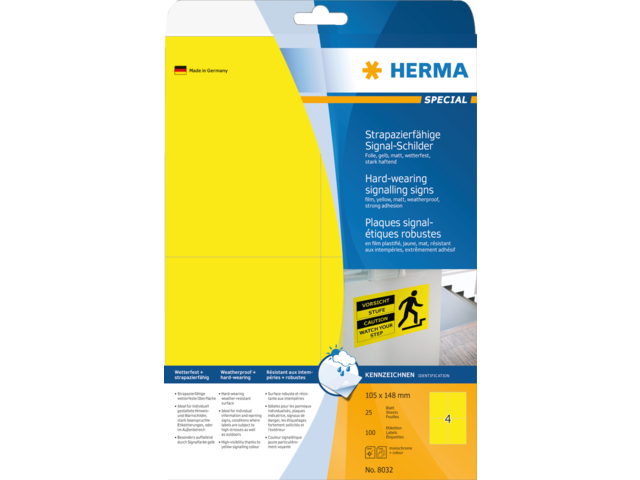 ETIKET HERMA 8032 105X148MM 100ST GEEL