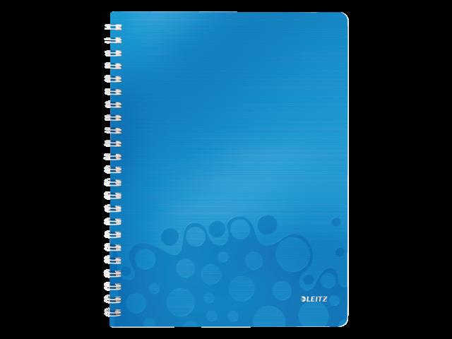 Notitieboek leitz wow a4 spiraal pp lijn blauw