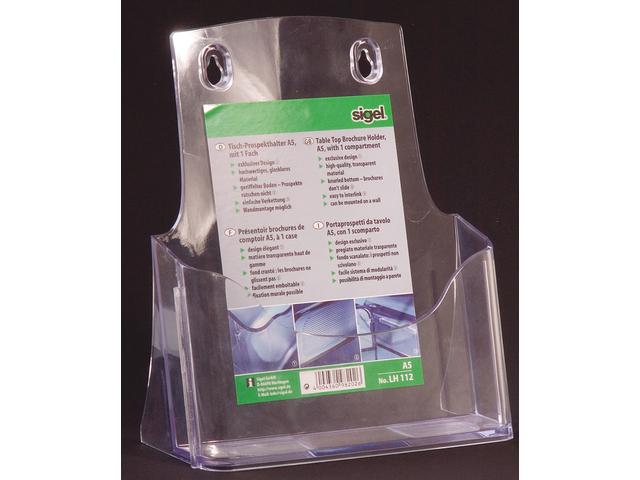 Folderstandaard sigel lh112 1xa5 staand transparant