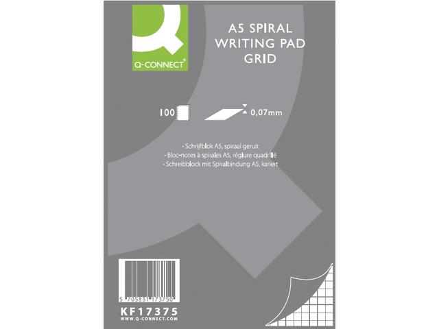 SCHRIJFBLOK Q-CONNECT A5 RUIT 5MM SPIRAAL 70GRAM
