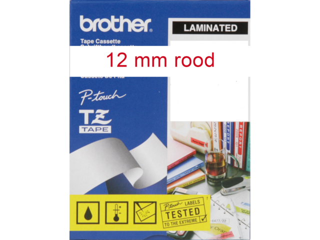 Labeltape brother p-touch tze232 12mm rood op wit