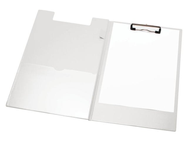 Klemmap a4/folio met 100mm klem + penlus wit