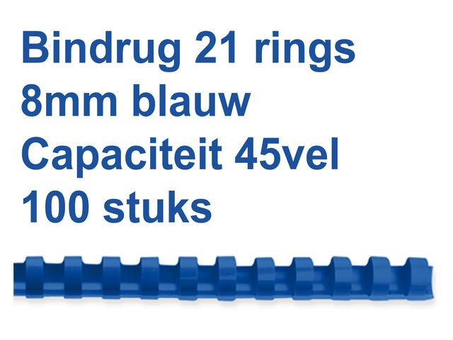 BINDRUG GBC 8MM 21RINGS A4 BLAUW