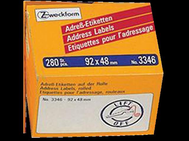 Etiket avery zweckform 3346 92x48mm 280stuks