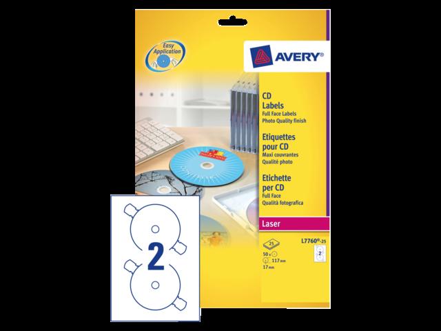 Etiket avery l7760-25 cd full size glossy 50stuks