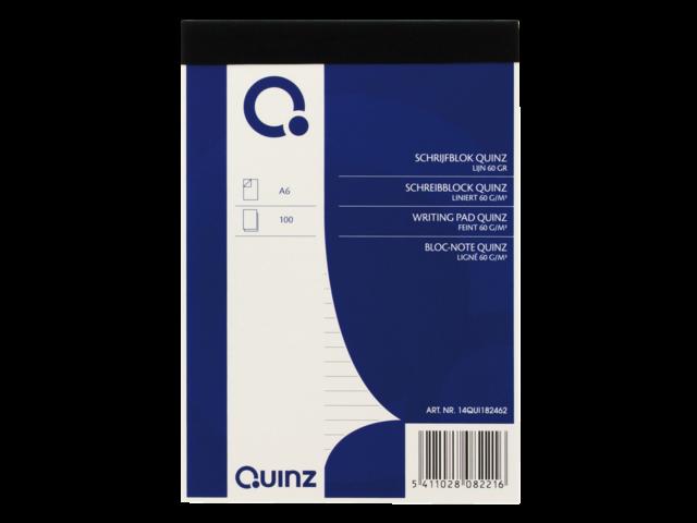 Schrijfblok quinz a6 60grams 100vel gelinieerd