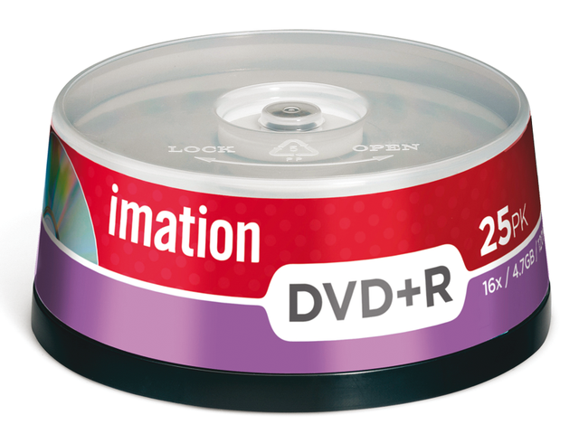 Dvd+r imation 16x 4.7gb spindel 25stuks