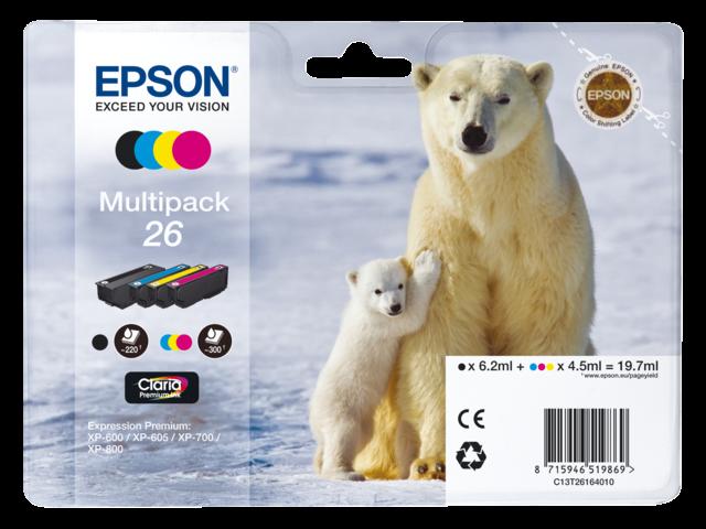 Inkcartridge epson t261640 zwart+3 kleuren