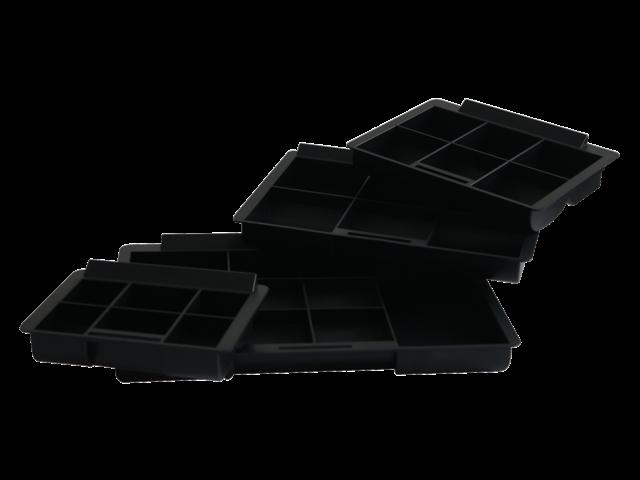 Inzetbak voor geldkist 42 6-vaks plastic zwart