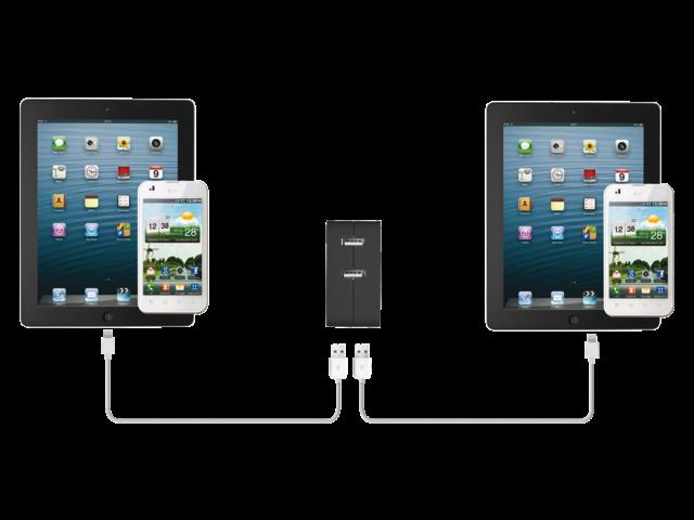 Oplader trust wall charger + 2 usb ports 12watt
