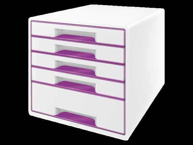 Ladenbox leitz 5214 wow 5 laden wit/paars