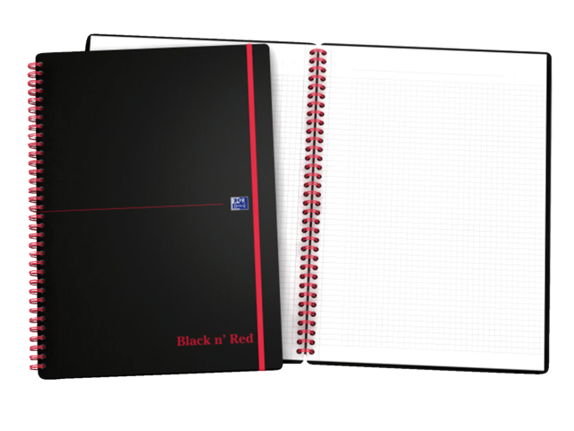 Notitieboek oxford black & red a4 karton gelinieerd ass.