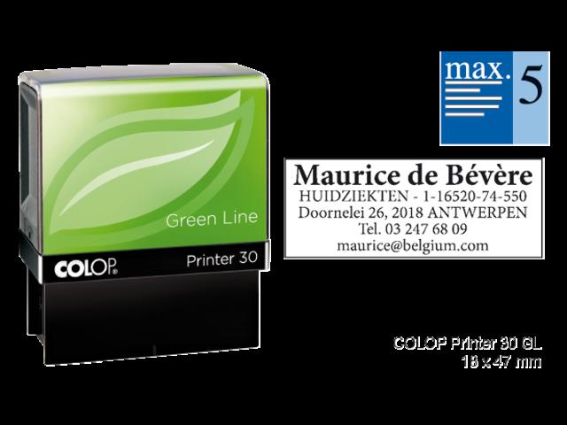 Tekststempel colop 30 green line+bon 5regels frans 47x18mm
