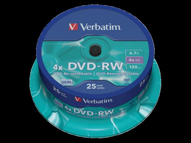 DVD-RW VERBATIM 4.7GB 4X 25PK SPINDEL