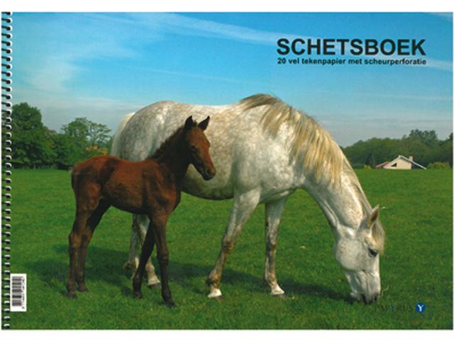Schetsboek papyrus paarden a4 120gr 20vel
