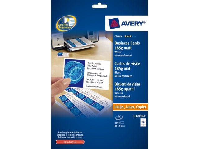 Carte De Visite Avery C32010 25 85x54mm 185g 250 Pieces