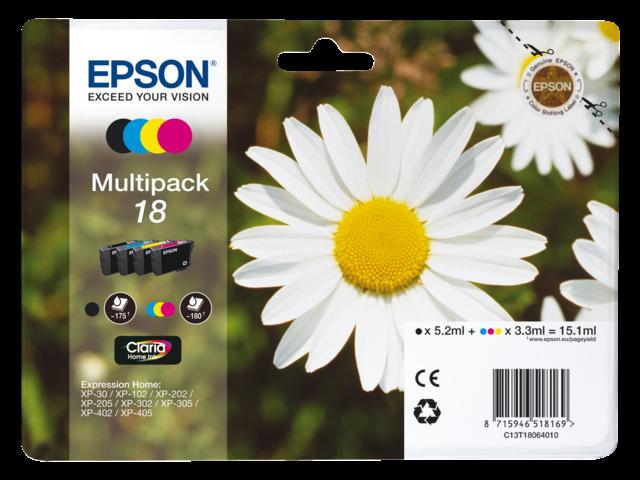Inkcartridge epson t180640 zwart+3 kleuren