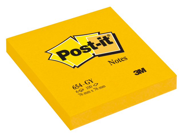 Memoblok 3m post-it 654-gy 76x76mm neon goud geel
