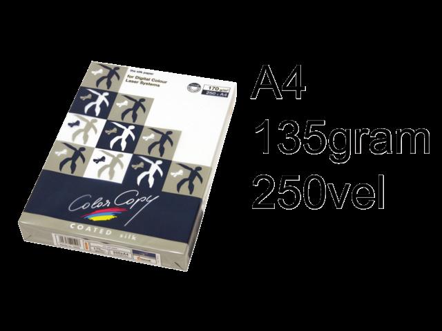 Laserpapier color copy silk coated a4 135gr wit 250vel