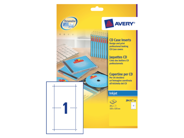 Cd inlegkaart avery j8431-25 121x242mm 165gr