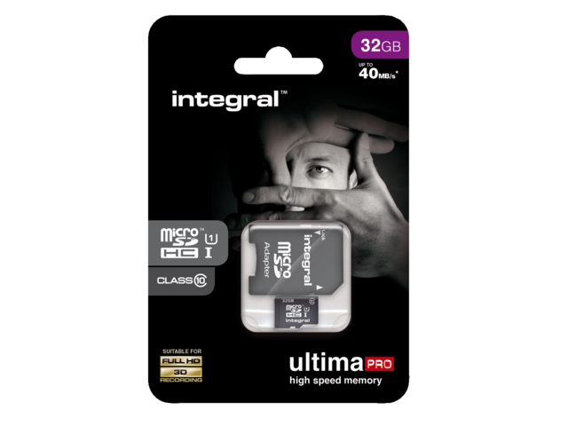 Photo: GEHEUGENKAART INTEGRAL MICRO SDHC 32GB ADAPT CL10