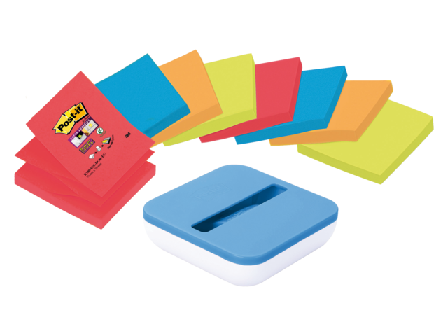 Memoblokdispenser 3m post-it z-notes 76x76mm met 6 blokjes