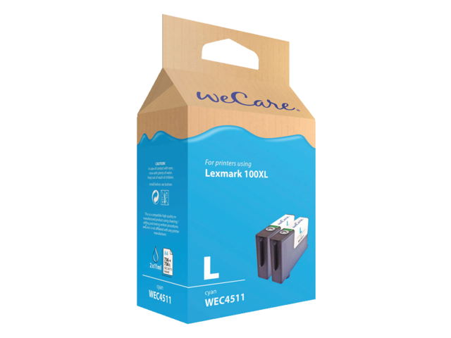 Inkcartridge wecare lexmark 14n1069 100xl 2x blauw